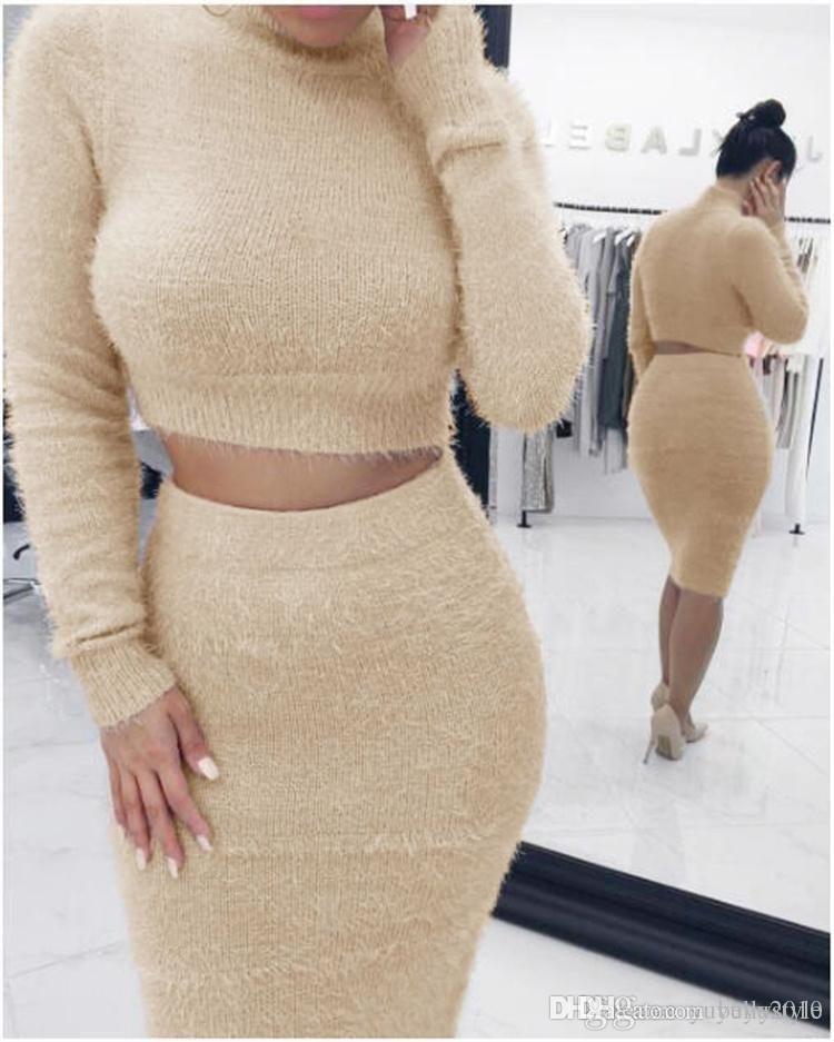 Beetone Осень Зима 2 шт. Набор женщин O шеи с длинным рукавом свитер вязать юбка элегантная леди 3 цвета из двух частей набор теплой одежды MTL170730