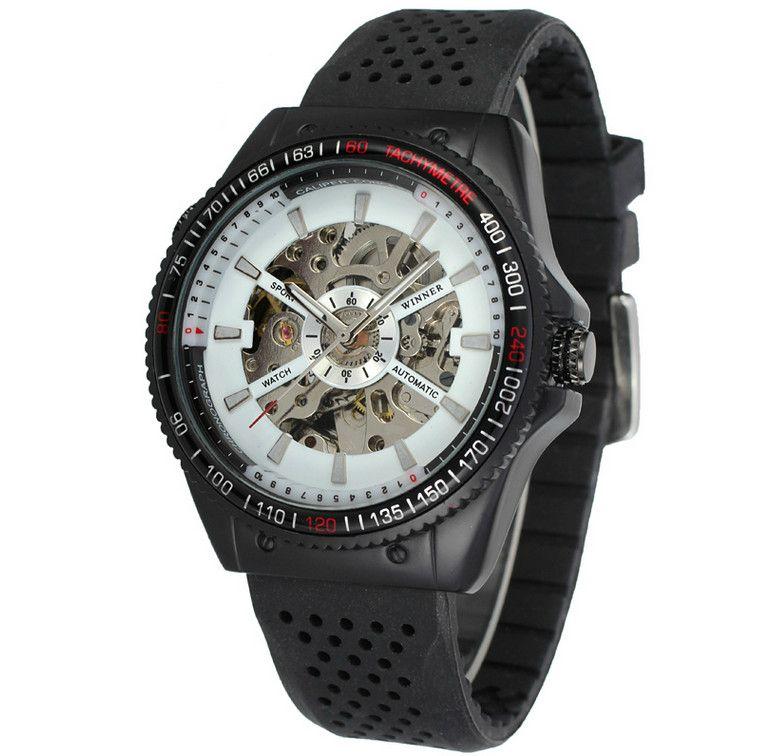 Winner Mens Watches Top Brand Luxury Clock Men Automatic Mechanical Skeleton Watches Men Watch Sport Silicone Band Orologio Uomo SLZ3-4