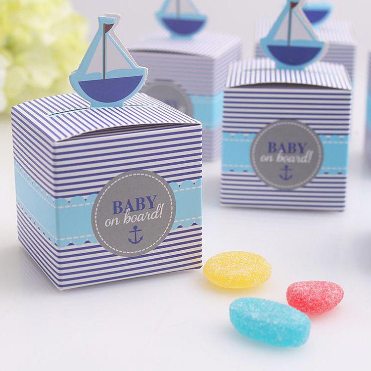 50pcs Bébé à bord Box Candy Baby Douche Garçon Boyon Boîte de chocolat Coffret unique et beau