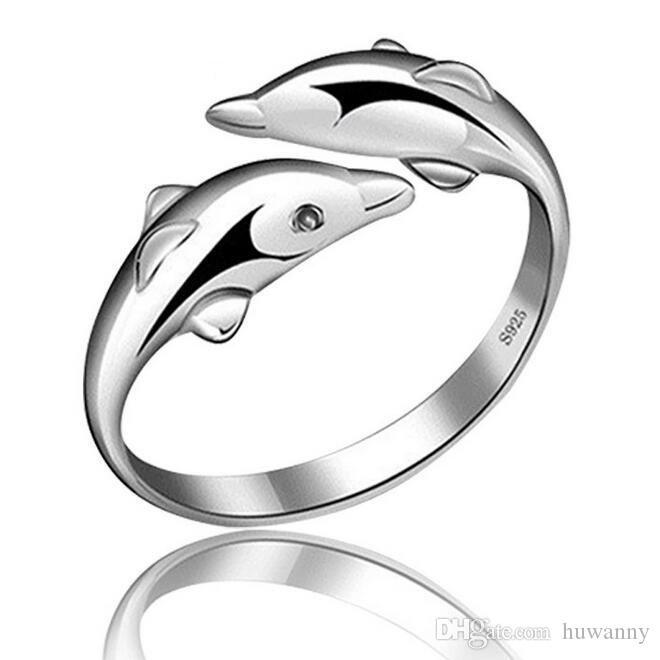 Silver Band Rings Hot Sale Dolphin Finger Rings For Women Girl Wedding Party Open Size Fashion Jewelry Wholesale Free Shipping 0107WH