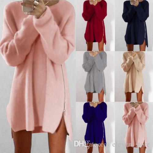 2020 nouvelle hiver en Europe et aux États-Unis, la nouvelle robe pull zipper loisirs femmes en vrac