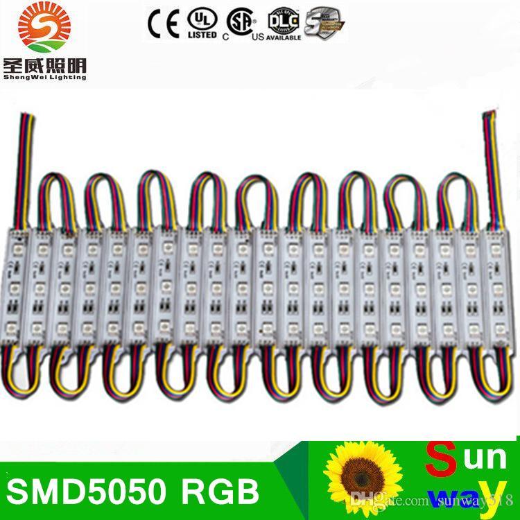 işareti 3 * SMD5050RGB 0.72W 45lm IP66 75mm * 12mm RGB renk değiştirilebilir için 1000pcs X Epoksi su geçirmez LED modülü lamba arka aydınlatma