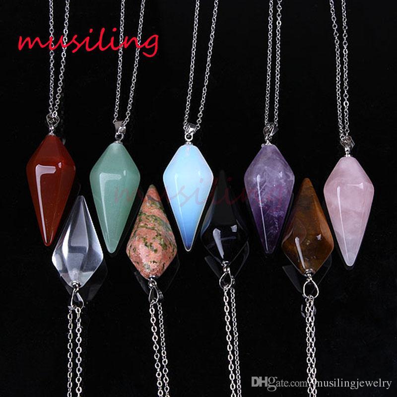 Pingentes de colar de Pingente de Pirâmide Gem Stone Pendulum Colar de Jóias Para As Mulheres Colar Encantos Da Cadeia Amuleto Mulheres Mens Jóias