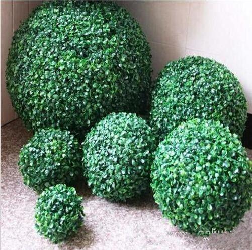 Konstgjord plast silke tyg grön blomma gräs växt boll för trädgård heminredning bröllop julstång fest dekorationer leveranser