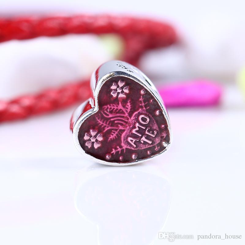 100% Réel 925 En Argent Sterling Non Plaqué De Luxe Rose Coeur CZ Charmes Européens Charmes Perles Fit Pandora Bracelet DIY Bijoux