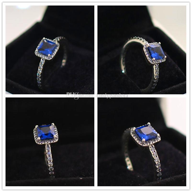 2017 neue 100% 925 Sterling Silber Europäischen Pandora Schmuck Zeitlose Eleganz Ring mit True Blue Kristall Cz Mode Charme Ring