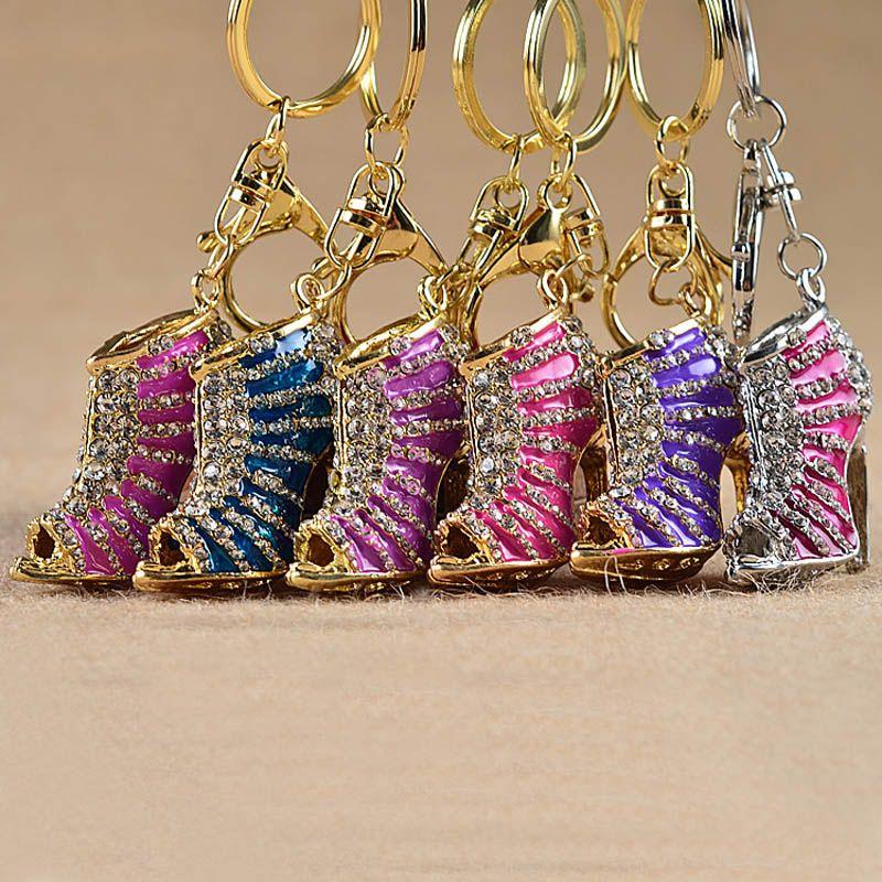 Crystal High Heel shoes keychain key rings shoe Carabiner handbag hangs women Metal keyring jewelry DROP SHIP 170502