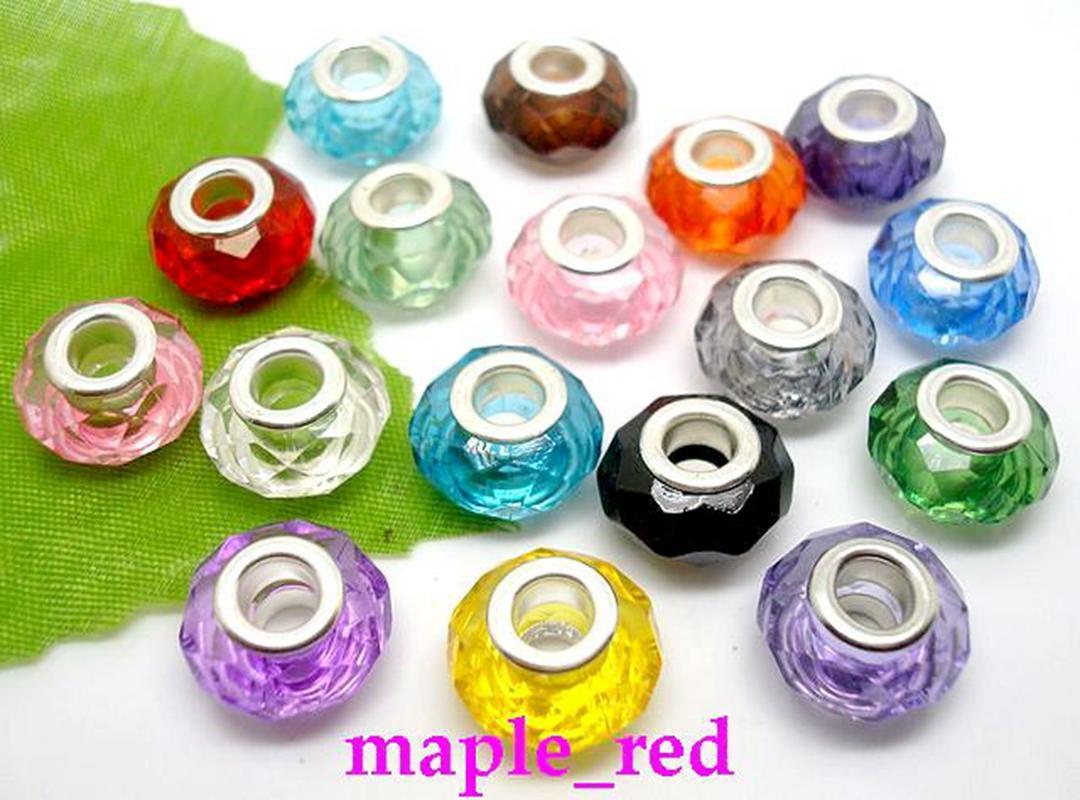 Wholesale 100pcs / lot schöne Mehrfarbenrunden facettierten Kristallharz-Korne passten europäischen Charme Armbänder / Halskette Niedriger Preis