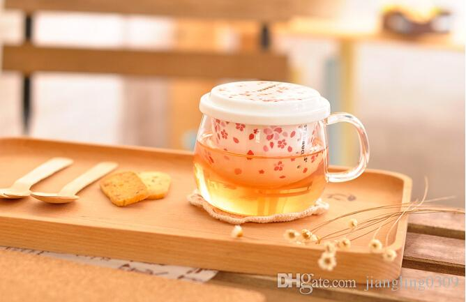 Unit Japanese Home Filter Cup Heat Starbucks Office To Transparent Ceramic Blossoms Mug Style Glass Liner Go Personalized Tea Cherry Coffee QrCBWxedo
