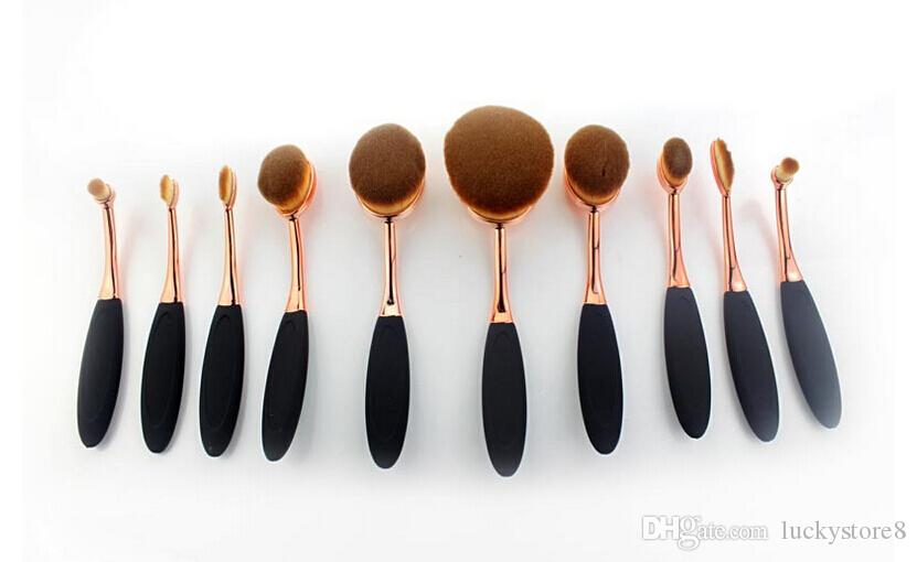 20sets/lot Beauty Toothbrush brush rose gold Shaped Foundation Power Makeup Oval Cream Puff Brushes sets Oval Brushes DHL FREE