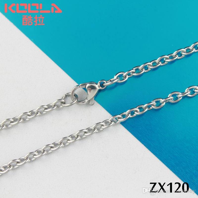 Kunafir 20 stks per partij 360-810mm roestvrij staal 3mm O-vormige open / elliptische ring ketting sieraden ketting kettingen ZX120