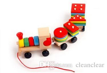 Wooden Blocks Muliticolor Toy Educational toya Kids Baby Wooden Solid Intellect Small Train Wood Stacking Gift 1PC