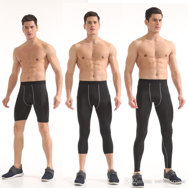 Hommes Compression Base Couches Leggings Pantalons Entraînement Sports Shorts de Fitness Collants Pantalons Capri Pantalons Longs