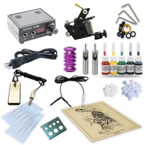 Pro Tattoo Kit 1 Liner/Shader Machines Tattoo Gun Power Supply Ink ...