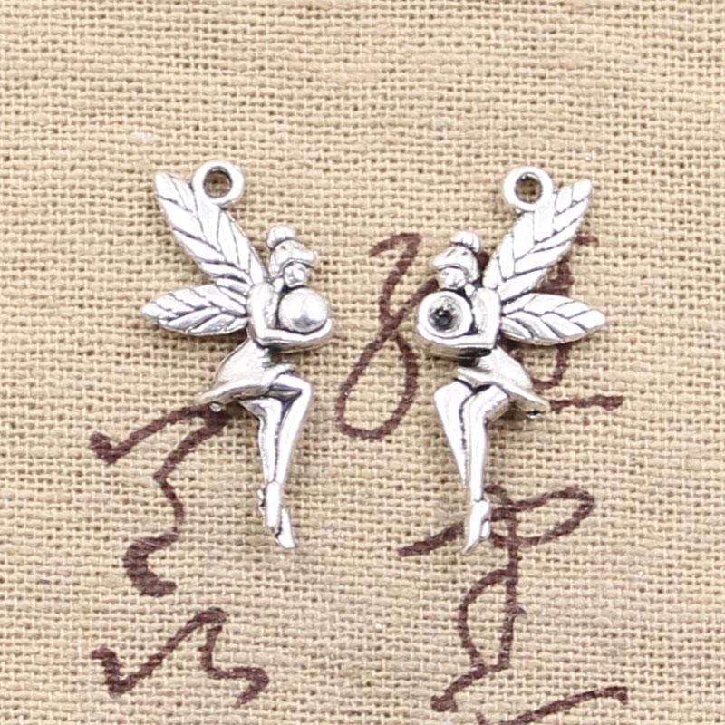 120pcs Encantos justo ángel 26 * 11mm Antique Making colgante en forma, Vintage Tibetan Silver, DIY pulsera collar
