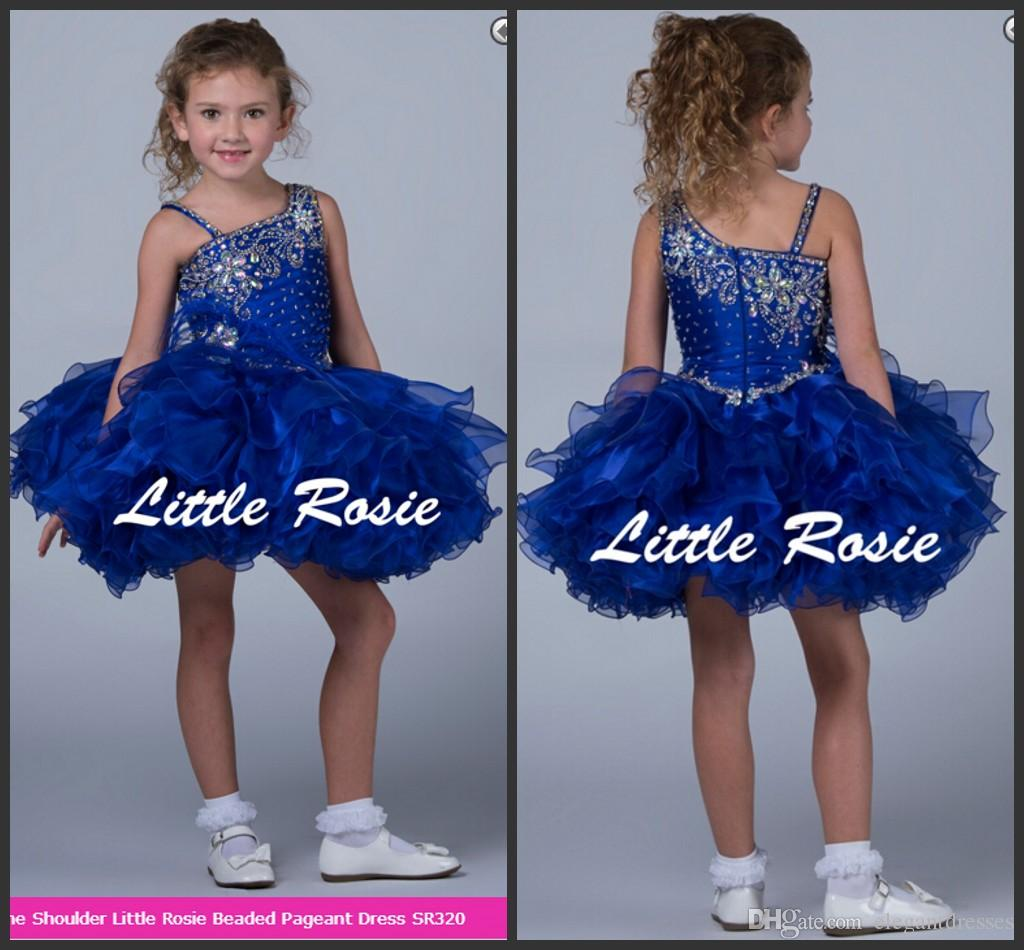2018 più nuovo abito di sfera Royal Blue Organza Girls Cupcake Baby Pageant Abiti Custom Flower Girls Dress Cheap Sale