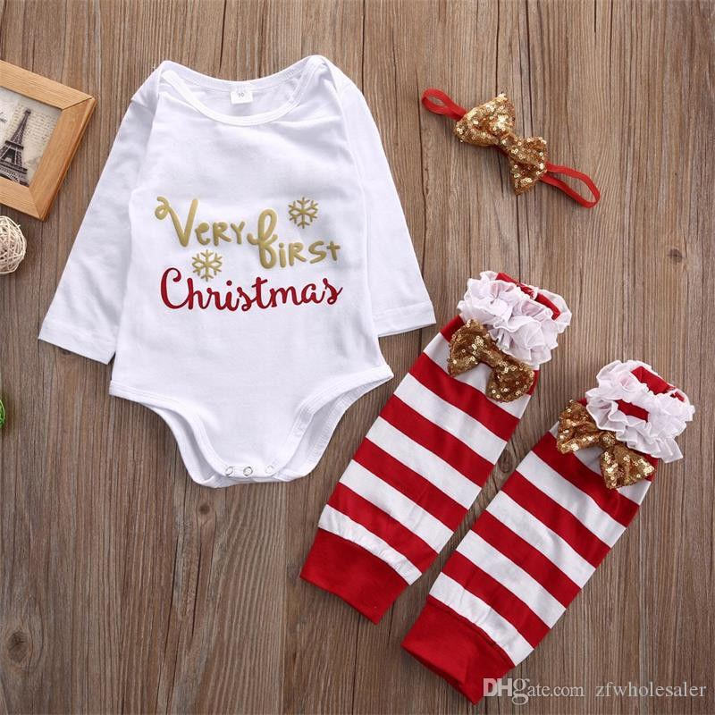 아기 크리스마스 잠옷 크리스마스 Romper 유아 복장 아동 부티크 의류 아동 의류 세트 3PCS Onesies + Headband + 유아기의 새끼를 낳기