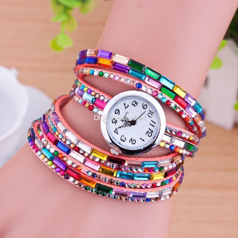 Fashion Women Colorful Bracelet Watch Women Diamond Wristwatches Relogio Quartz Casual Female Bracelets Watches Free Shipping