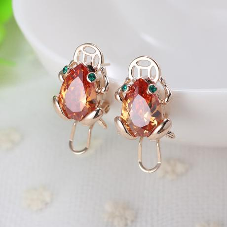 Fashion Animal Frog Screw Back Earring 18K Gold Plated Clip-on Earrings for Women Party Jewelry Accessories Gifts