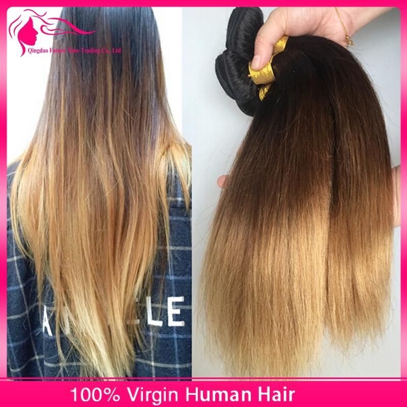 # 1B / 4/27 Ombre Cheveux Humains Bundles 9A Vierge Cheveux Raides Extensions 3 Pcs / lot 3 Tons Cheveux Tisse