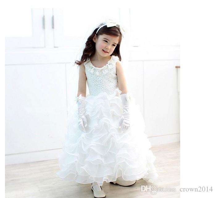 Scoop White Pageant Dresses For Girls Tulle 2020 Flower Girl Dresses Cute Beaded Tiered Floor-Length Princess Tutu Ball Gowns For Weddings