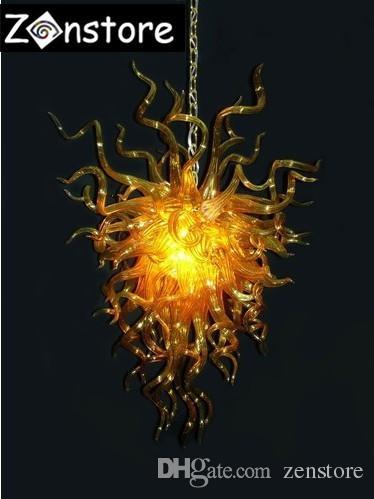 Italien Art Glass Kronleuchter Restaurant Store Decor Goldkette Kronleuchter Fixture Style mundgeblasenem Glas LED-Kronleuchter