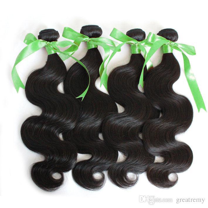 """100% Malasia Extensiones de cabello humano sin procesar Malasia Longitud mixta 8 """"-30"""" Pelo de trama de cabello Color natural Bodywave 4pcs GreatRemy Gota Envío"""