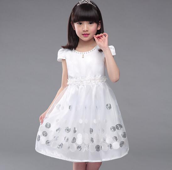 Compre Nuevo Vestido De Manga Corta Para Niñas Modelos De Verano Para Mujer Con Lentejuelas Vestido De Color Puro Vestido De Princesa De Niña De