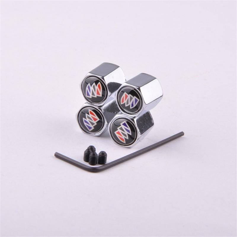 Theftproof Stainless Steel Car-styling 4PCS/Set Car Anti-Theft Wheels Tires Valves Tyre Stem Air Caps Tires Valve Caps for Buick