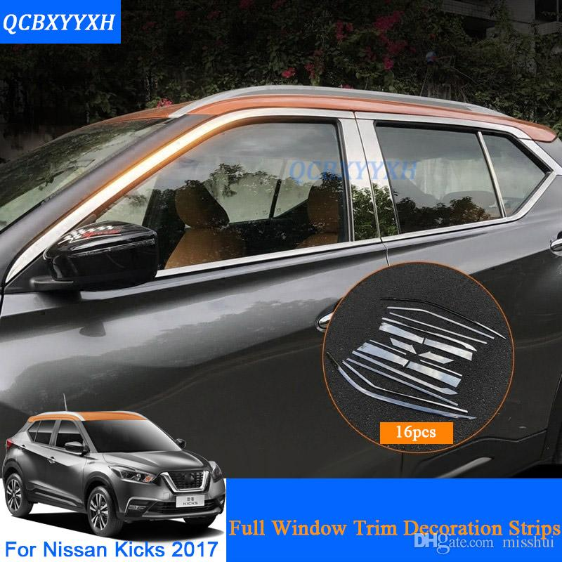 Full Window Trim Decoration Strips For Nissan Kicks 2017 2018 Accessories Stainless Steel Car Styling Stainless Steel