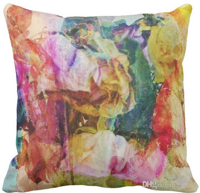Bunte Tintenblume Blumenpilow Throw Pillow Baumwoll- und Leinenmaterialfarbe wie gezeigt 16x16inch 18x18inch 20x20inch