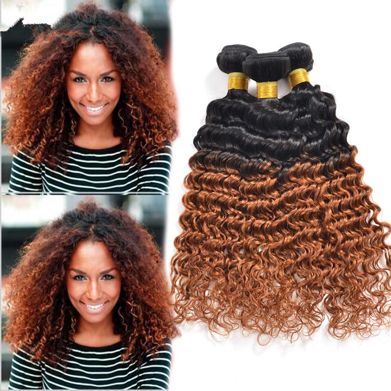 Hot Sale Beauty Honey Blonde Hair Bundles Deep Curly Hair Weaves 3 Pcs Lot #1B/30 Two Tone Hair Extensions For Black Woman