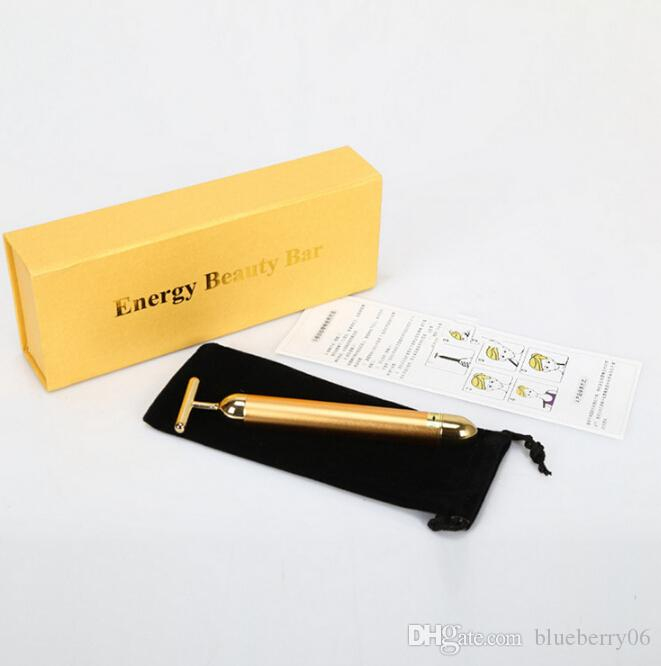 التكنولوجيا من اليابان 24K الجمال بار الذهبي ديرما الرول الطاقة مساج الوجه الجمال العناية الاهتزاز تدليك الوجه الكهربائية