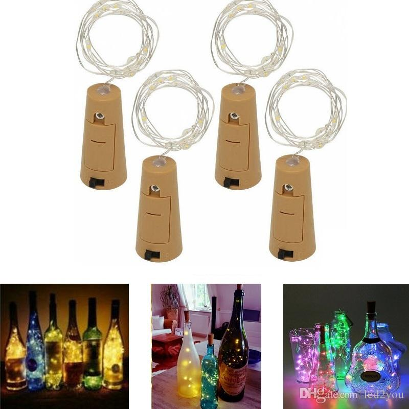 와인 병 코르크 요정 조명 병 마개 LED 문자열 1M 2M 실버 와이어 문자열 조명 배터리 전원 크리스마스 웨딩 장식