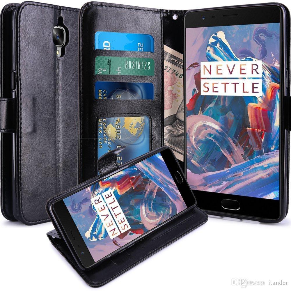 Nuovi accessori protettivi rigidi di lusso Slim Cover per OnePlus 3 3t Tre Flip Custodie in pelle per portafogli con supporto Stand Nero Marrone Bianco