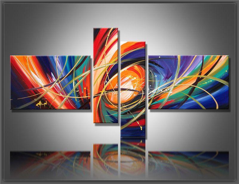 Combinação 4 painel de arte da parede Pinturas Abstratas Moderna Pintura A Óleo sobre Tela de Decoração Para Casa fotos da sala de estar pintado à mão Pintura A Óleo