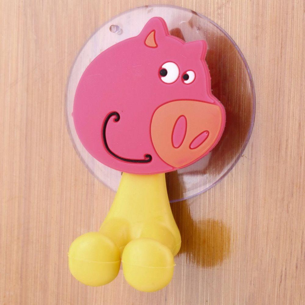 Pig bathroom accessories -  Cute Cartoon Sucker Toothbrush Holder Suction Cup Hooks Bathroom Set Accessories Eco Friendly Pig Pet