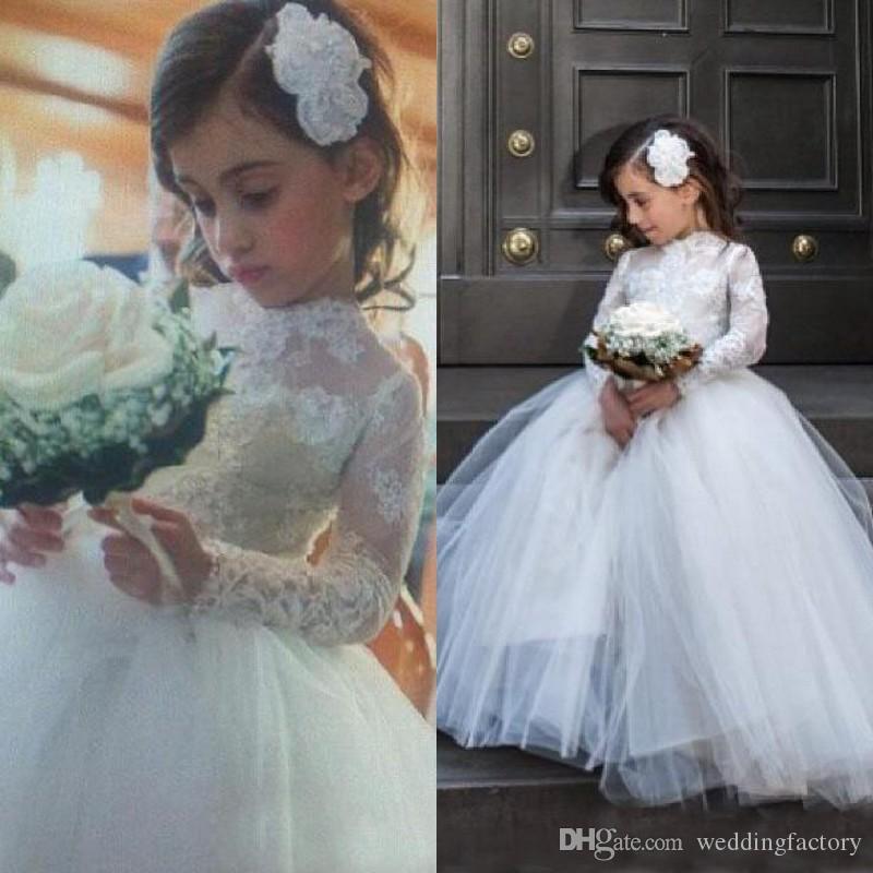 뜨거운 판매 화려한 환상 긴 소매 꽃 파는 소녀 복장 푹신한 레이스 얇은 명주 그물 소녀의 결혼식 파티 정장을 짓는 주문품은 고품질을 만들었다