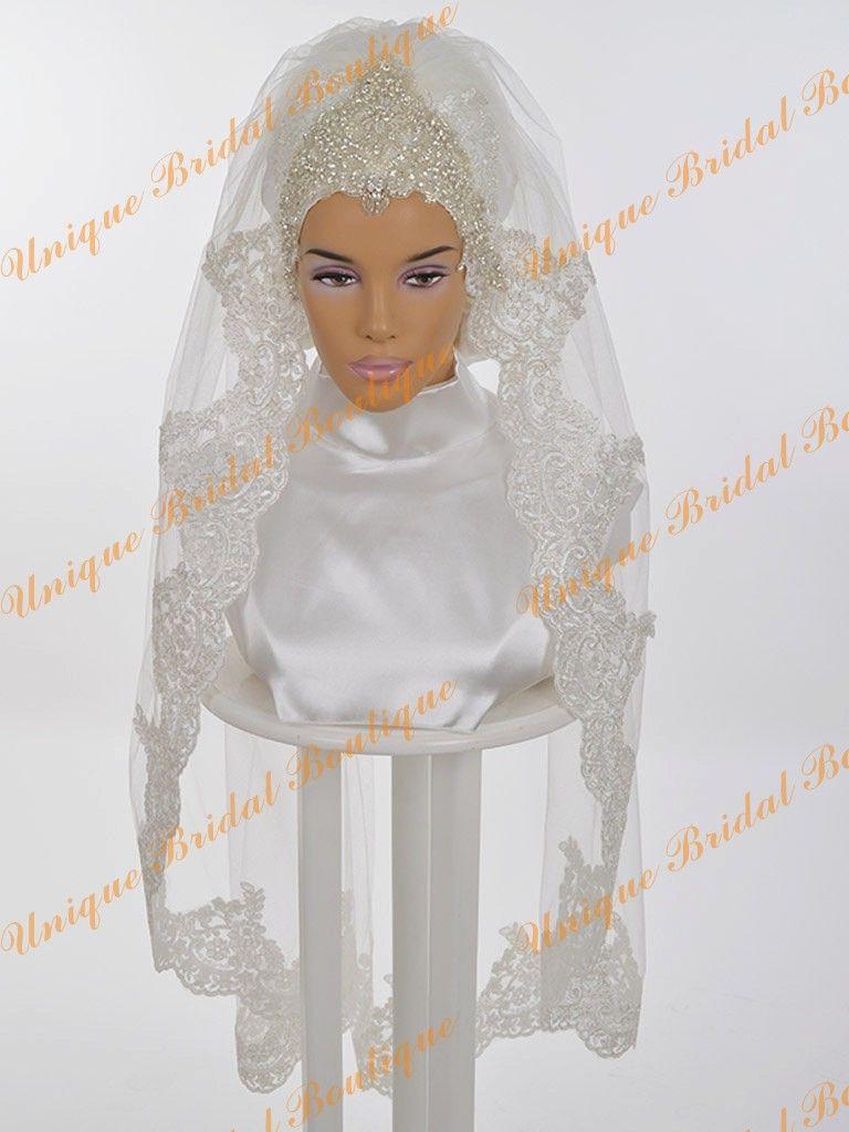 Veli di nozze musulmani 2016 con appliques di pizzo Edge e cristalli strass strays uno strato lunghezza del gomito Hijab da sposa spedizione gratuita