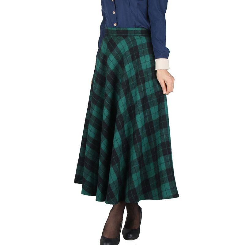 2016 otoño invierno mujer cintura alta a cuadros tobillo longitud faldas largas más tamaño rojo plisado falda de lana Streetwear 6 colores