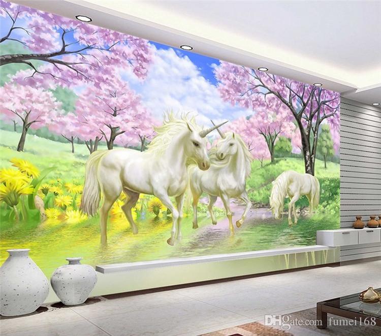 Grosshandel Benutzerdefinierte 3d Wandbild Tapete Einhorn Traum Kirschblute Tv Hintergrund Wandbilder Fur Kinderzimmer Schlafzimmer Wohnzimmer Tapete