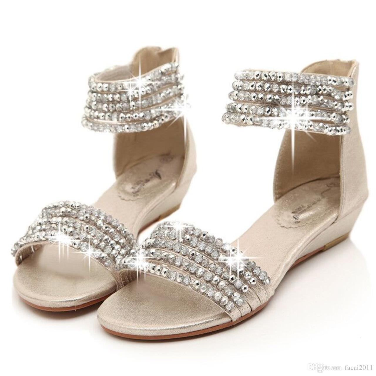 Women's sandals with bling -  Bohemia Rome The Wind New Fund 2016 Summer With Wedges Women Sandals Beaded Rhinestone Peep