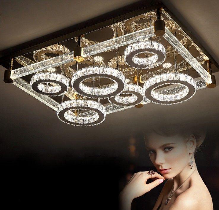 Semplice e moderno creativo rettangolare plafoniera rotonda LED cristallo lampada sala da pranzo sala da pranzo lampada da soffitto illuminazione LLFA
