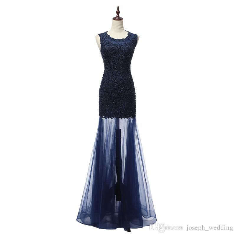 2018 Longues robes de sirène de bal robes de Noiva à encolure dégagée robes de soirée de Noiva Robes de Soirée Expédition Rapide