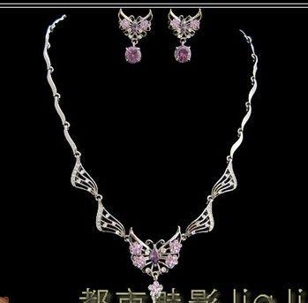 edle lila Diamant Kristall Waterdrop Set Halskette Ohrringe dsfs