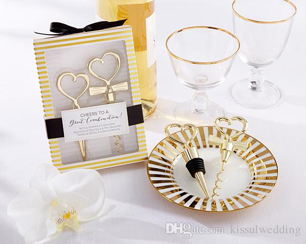 120pcs=60boxes Cheers to a Great Combination Gold Heart Bottle Stopper and Corkscrew Wine Wedding gift for Guests Bridal favors
