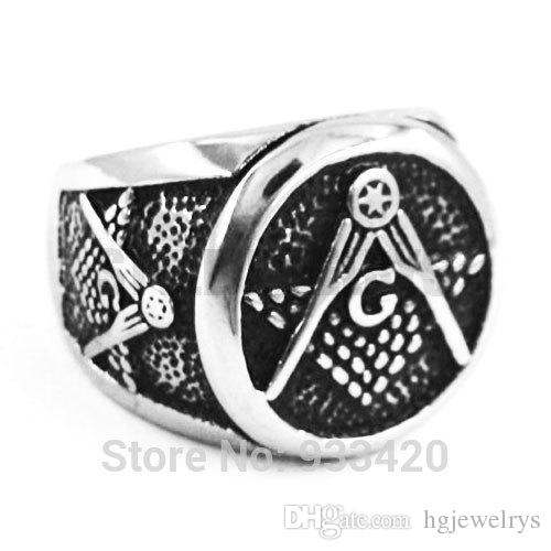 Free shipping! Masonic Ring Stainless Steel Jewelry New Freemasonry Symbol Masonic Biker Ring Men Ring Wholesale SWR0297B