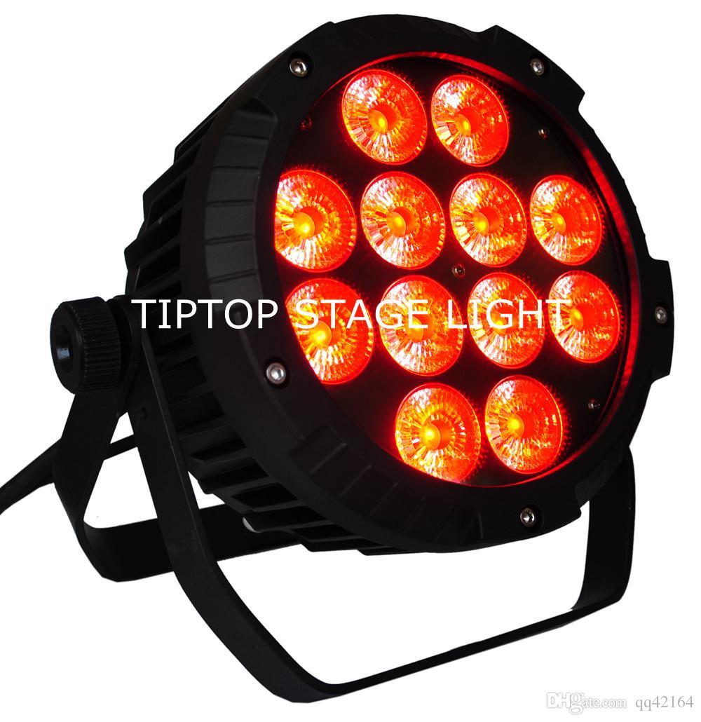 FREESHIPPING 4 حزمة 12 X 18W RGBWA UV LED PAR DJ ضوء IP65 للماء DMX PAR 64 المرحلة الإضاءة عرض LCD الألومنيوم الصب TP-P102