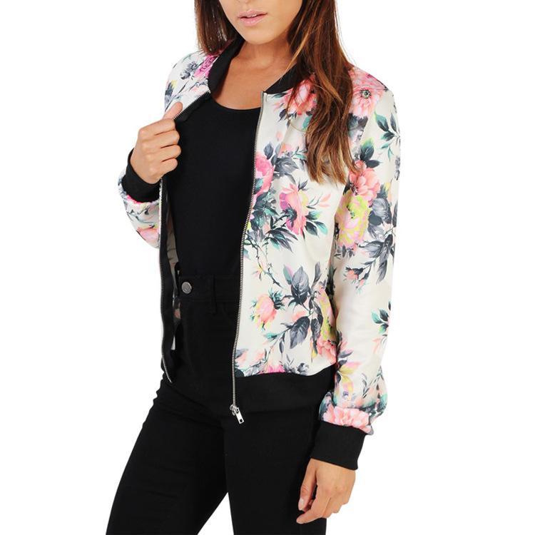 amplia selección de diseños nueva lanzamiento talla 40 Autumn Floral Bomber Jacket Women Slim Casual Business Jacket Women Zip Up  Biker Coat Outwear Camperas Mujer Abrigo Down Jacket Womens Leather Jackets  ...