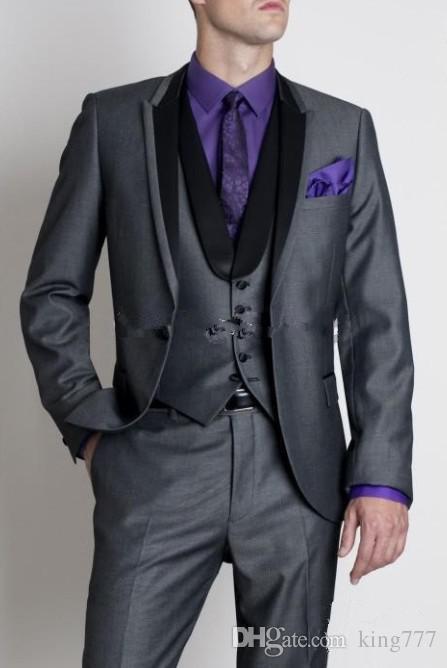 king Custom Made One Button Grey Groom Tuxedos Peak Black Lapel Best Man Groomsmen Men Wedding Suits Bridegroom (Jacket+Pants+Tie+Vest)